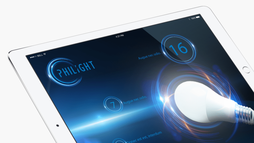 Projekt widoku na tablet dla Philight