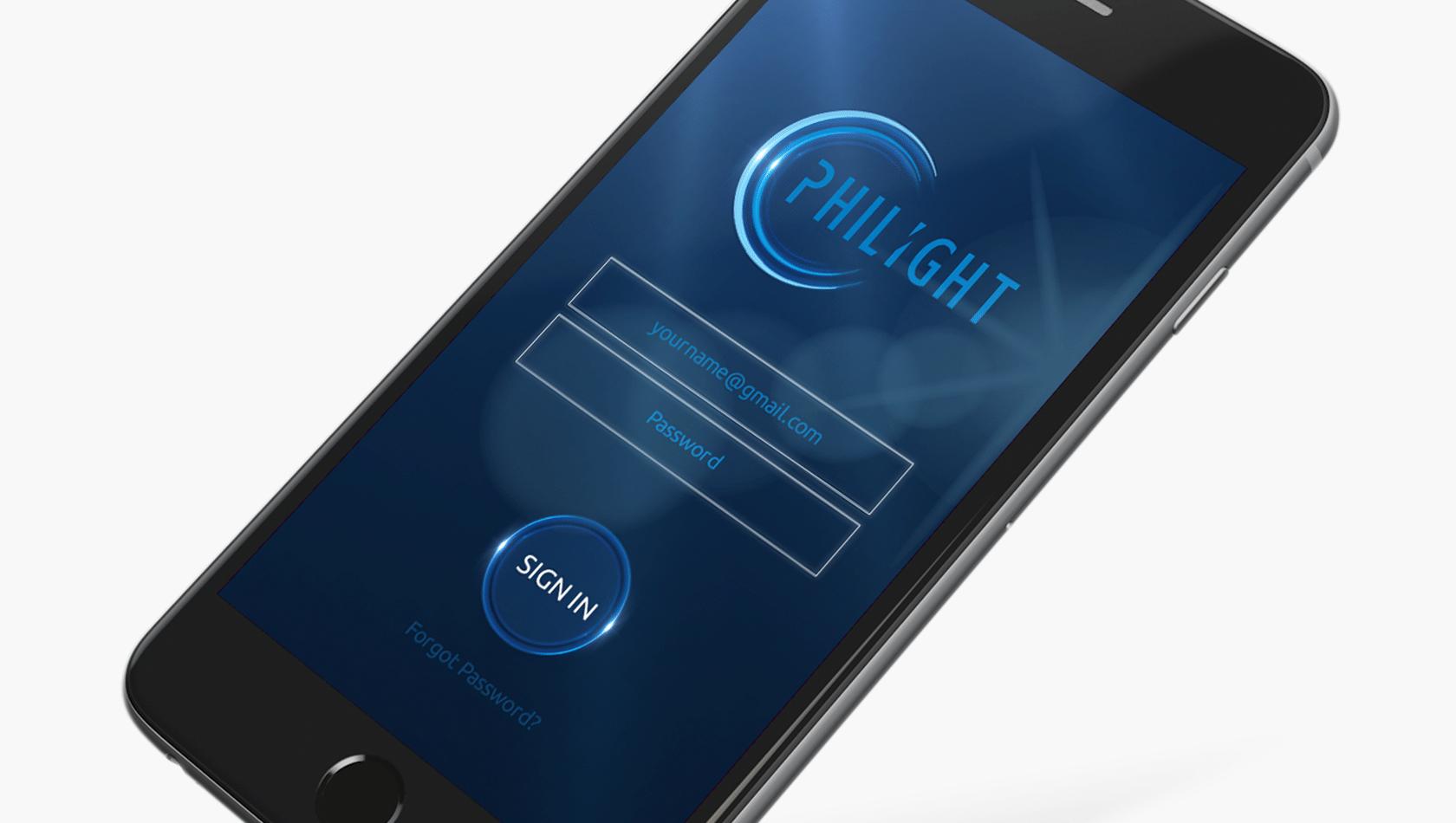 Projekt widoku na telefon dla Philight