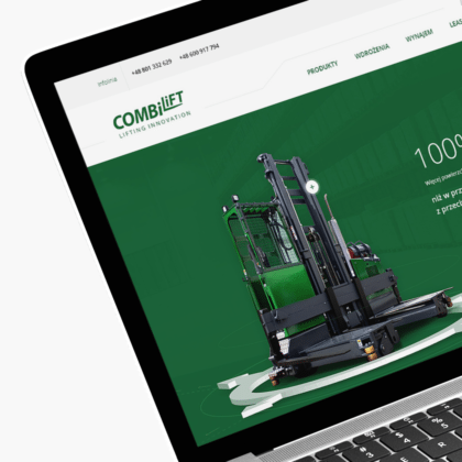 Strona internetowa dla wózków widłowych Combilift
