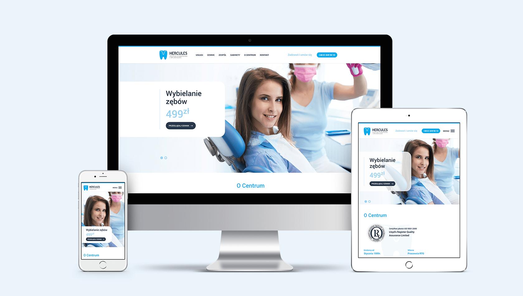 Strona internetowa dla Centrum Stomatologii i Implantologii Hercules