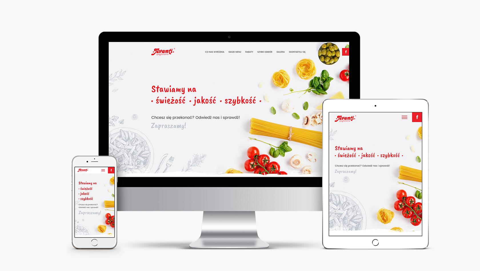 Strona internetowa dla spaghetterii Avanti w Poznaniu