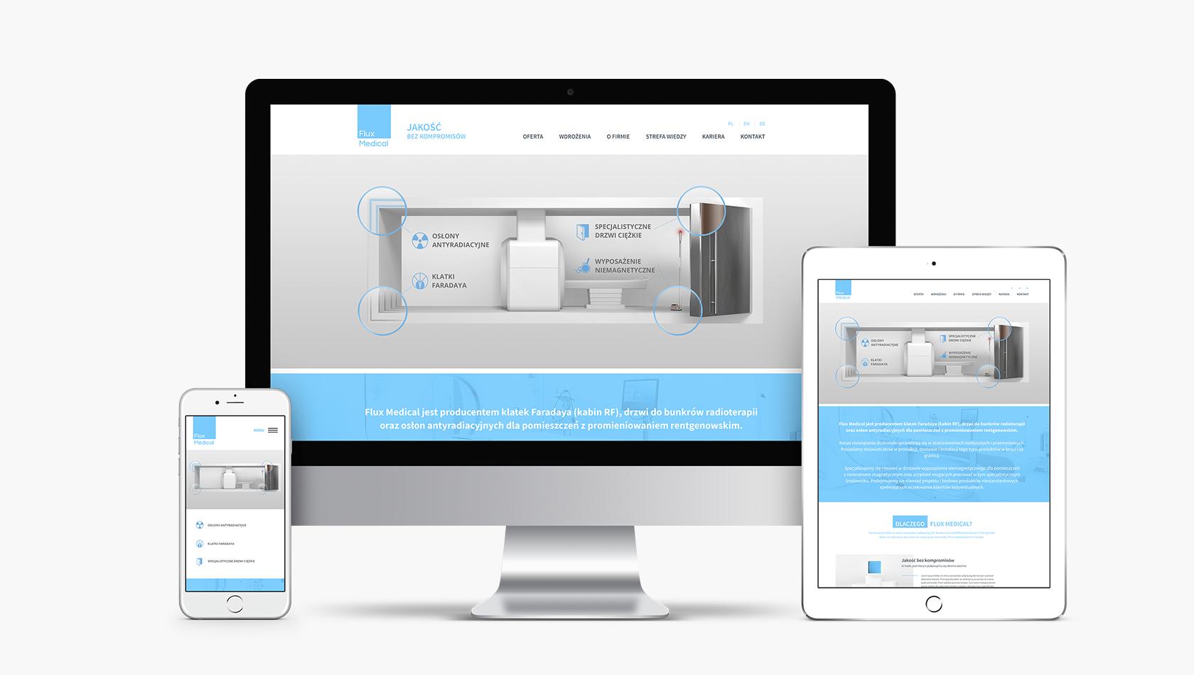 Strona internetowa dla producenta sprzętu medycznego Flux Medical